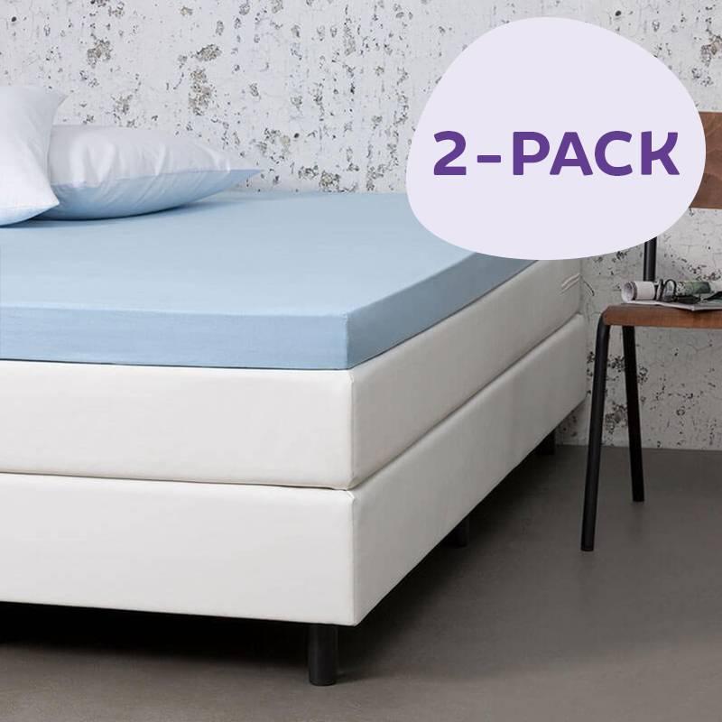 Dekbed-Discounter 2-PACK Jersey Stretch Topper Hoeslakens Kleur: Blauw, 100/120 x 200
