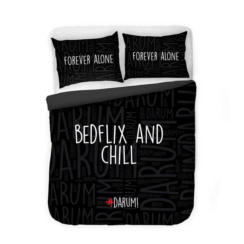 Afbeelding van Dekbedovertrek #DARUM! Bedflix & Chill Zwart 1 Persoons (140x220 cm)