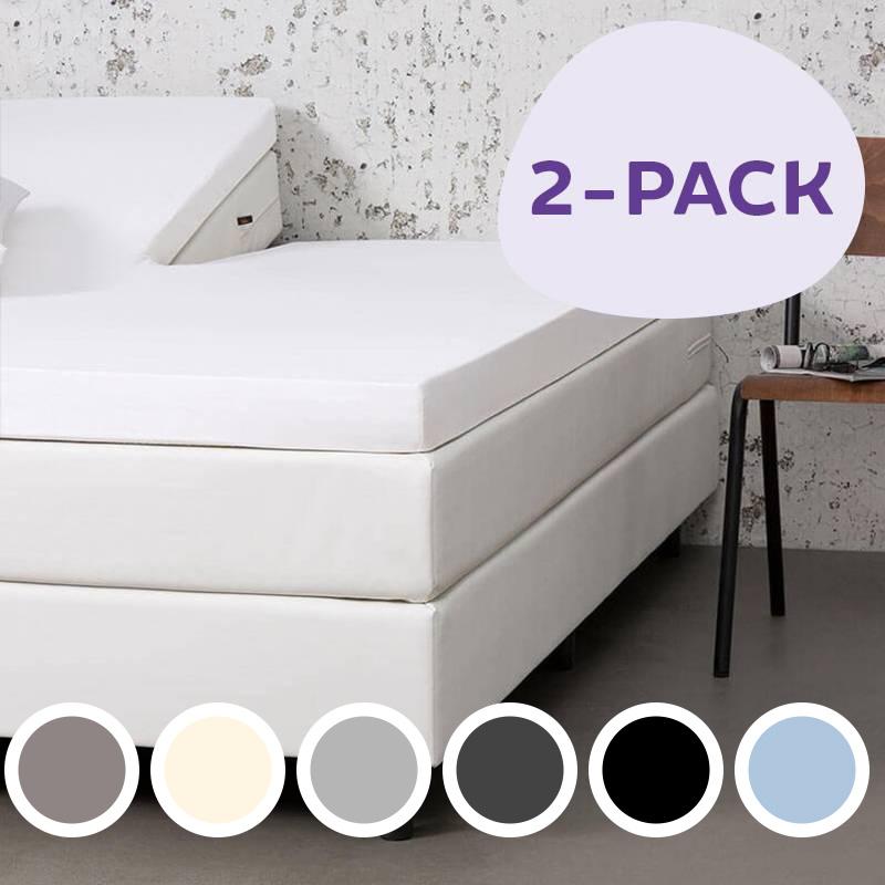 Dekbed Discounter 2-PACK Jersey Stretch Splittopper Hoeslakens Kleur: Licht grijs, 160 x 200/210/220