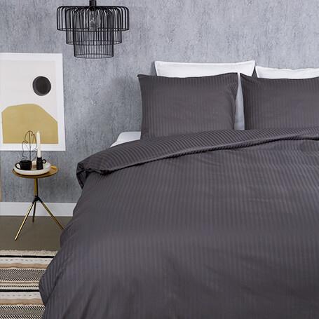 Presence Hotel Stripe - Premium - Antraciet 1-persoons (140 x 200/220 cm + 1 kussensloop) Dekbedover