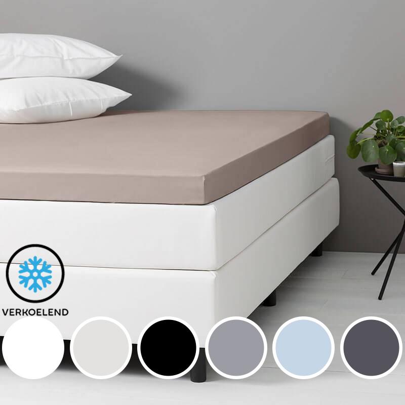 Dekbed-Discounter DD Verkoelende Katoenen Topper Hoeslaken Kleur: Zwart, 160 x 200