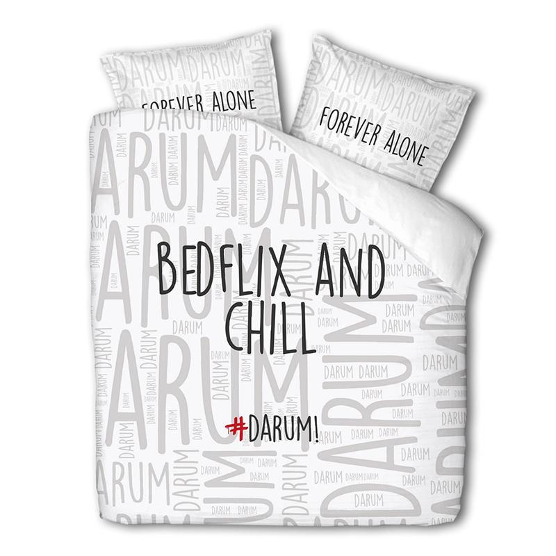 #DARUM! #DARUM! Bedflix – Wit Lits-jumeaux (240 x 240 cm + 2 kussenslopen) Dekbedovertrek