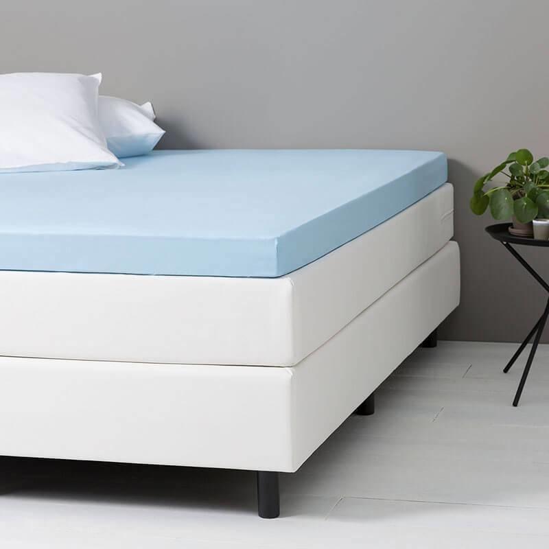 Dekbed-Discounter 2-PACK Verkoelende Katoenen Topper Hoeslakens - Blauw 180 x 220