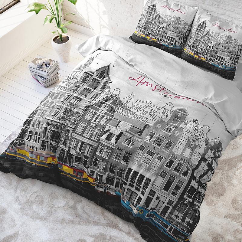 DreamHouse Bedding Old Amsterdam - Grijs 2-persoons (200 x 220 cm + 2 kussenslopen) Dekbedovertrek
