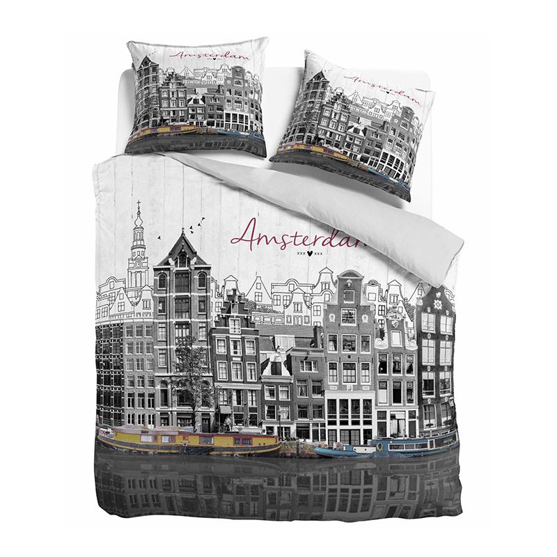 DreamHouse Bedding Old Amsterdam - Grijs Lits-jumeaux (240 x 220 cm + 2 kussenslopen) Dekbedovertrek