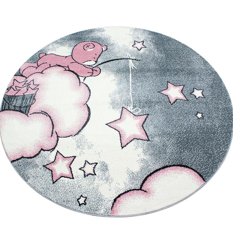 Vloerkleed - Teddybeer - Rond - Roze Kids Dieren, Sterren 120 x 120 cm - Ga naar Dekbed-Discounter.n
