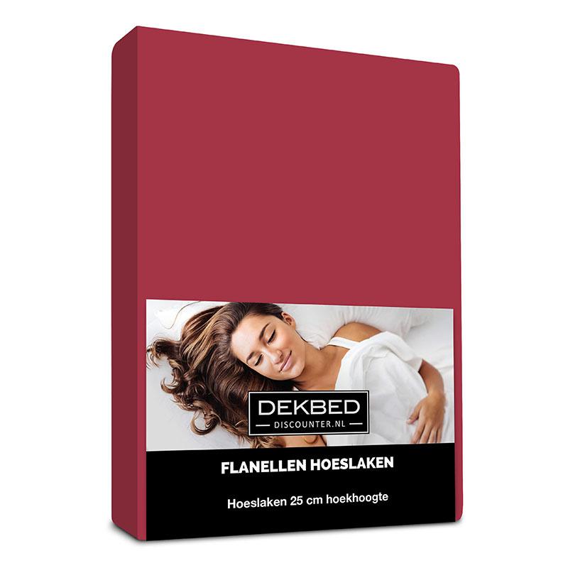 Dekbed-Discounter Verwarmend Flanel Hoeslaken - Bordeaux 180 x 210/220 cm