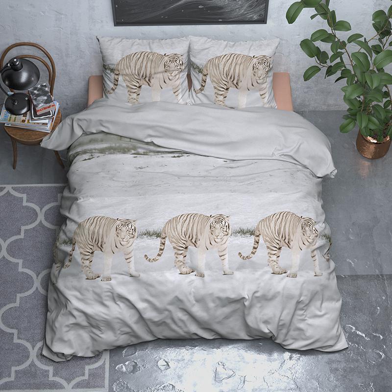 Sleeptime Elegance Snowy Tiger – Flanel 1-persoons (140 x 200/220 cm + 1 kussensloop) Dekbedovertrek