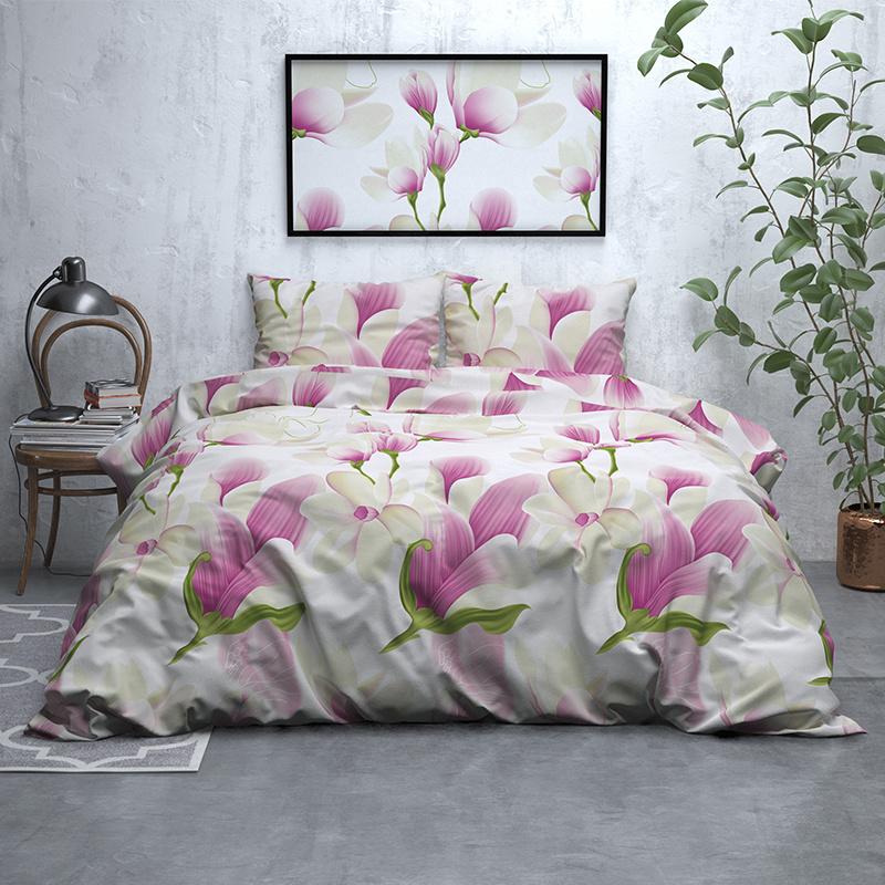 Sleeptime Elegance Flower Power – Flanel 1-persoons (140 x 200/220 cm + 1 kussensloop) Dekbedovertrek