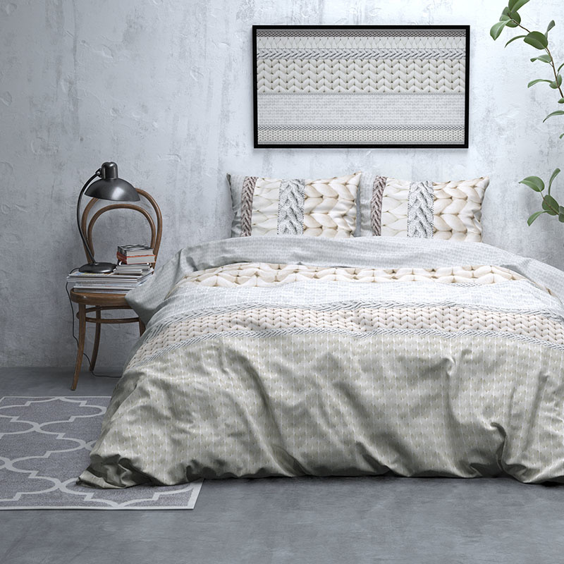 DreamHouse Bedding Knitty - Verwarmend Flanel - Creme Lits-jumeaux (240 x 200/220 cm + 2 kussenslope