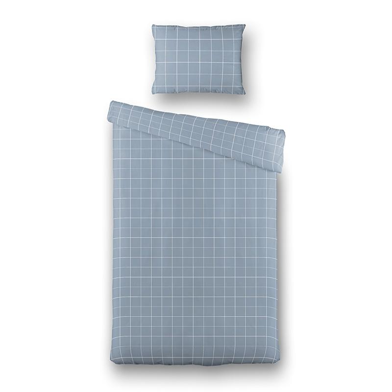 Dekbedovertrek Squared - Jeans 1-persoons (140x220 cm) - Katoen - Ruiten - - Ga naar Dekbed-Discount