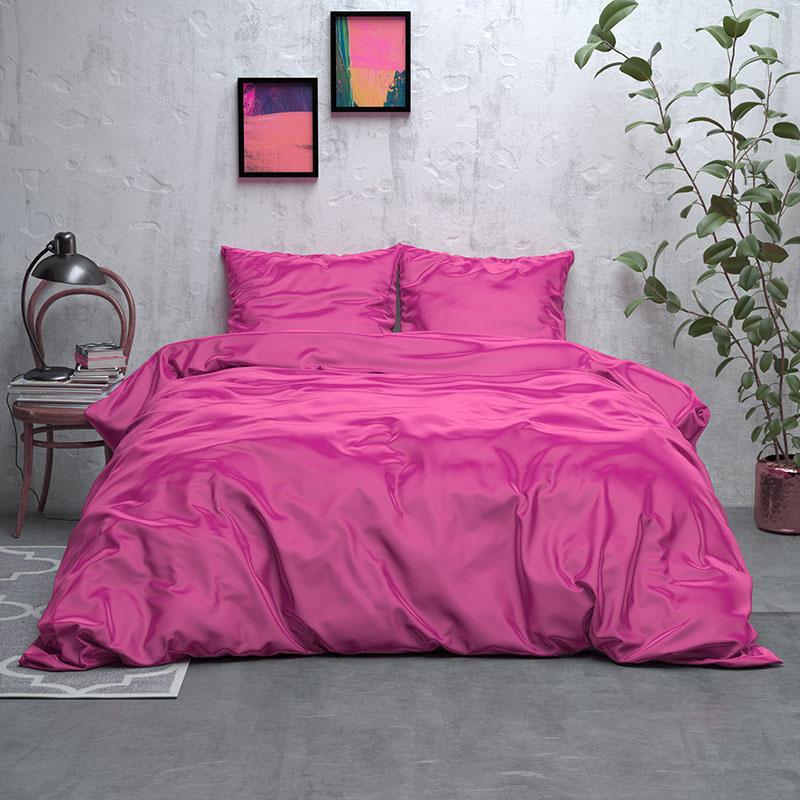 Sleeptime Elegance Satijn Geweven Uni – Hot Pink 2-persoons (200 x 220 cm + 2 kussenslopen) Dekbedovertrek