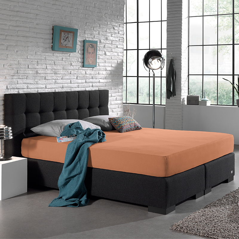 Home Care Jersey Hoeslaken - Home Care Pastel Oranje 80/90/100 x 200 cm