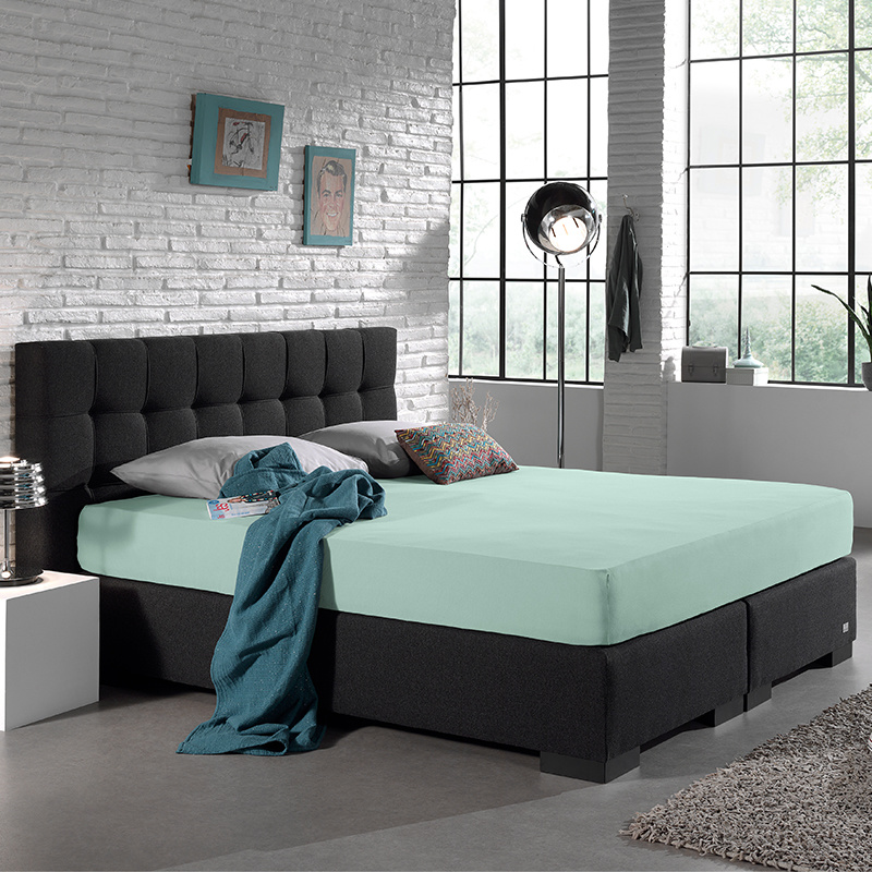 Home Care Jersey Hoeslaken - Home Care Pastel Blauw 190/200 x 220 cm
