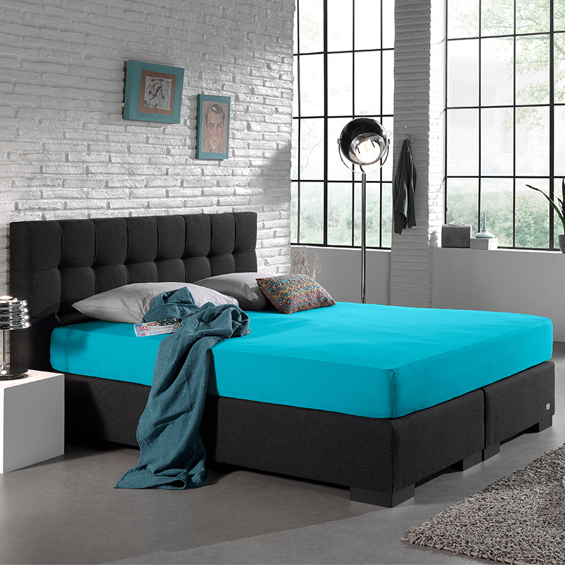 Home Care Jersey Hoeslaken - Home Care Turquoise 190/200 x 220 cm