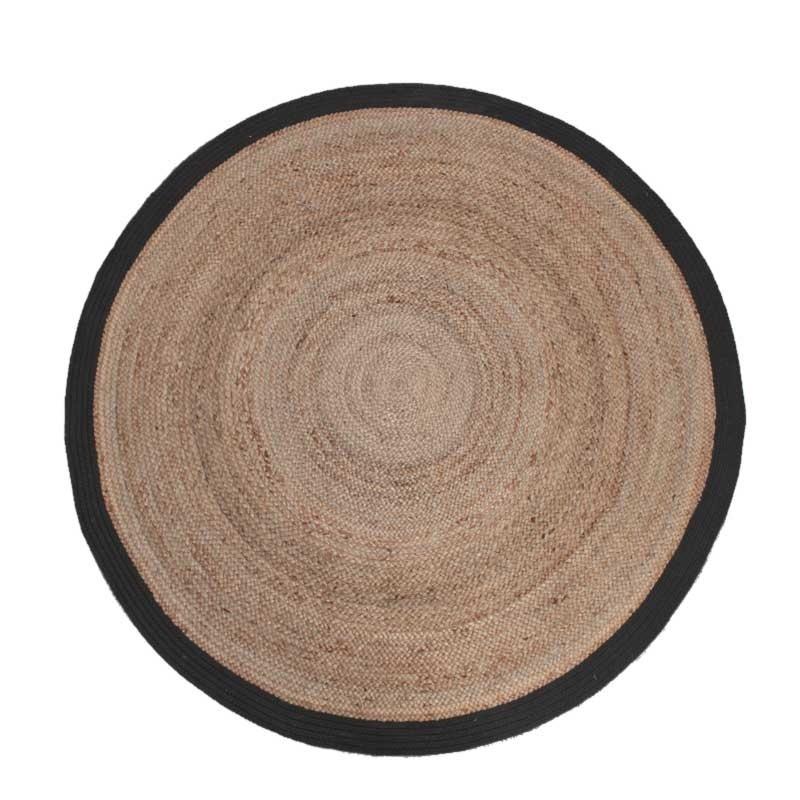 Vloerkleed Jute - Zwart 180 x 180 cm