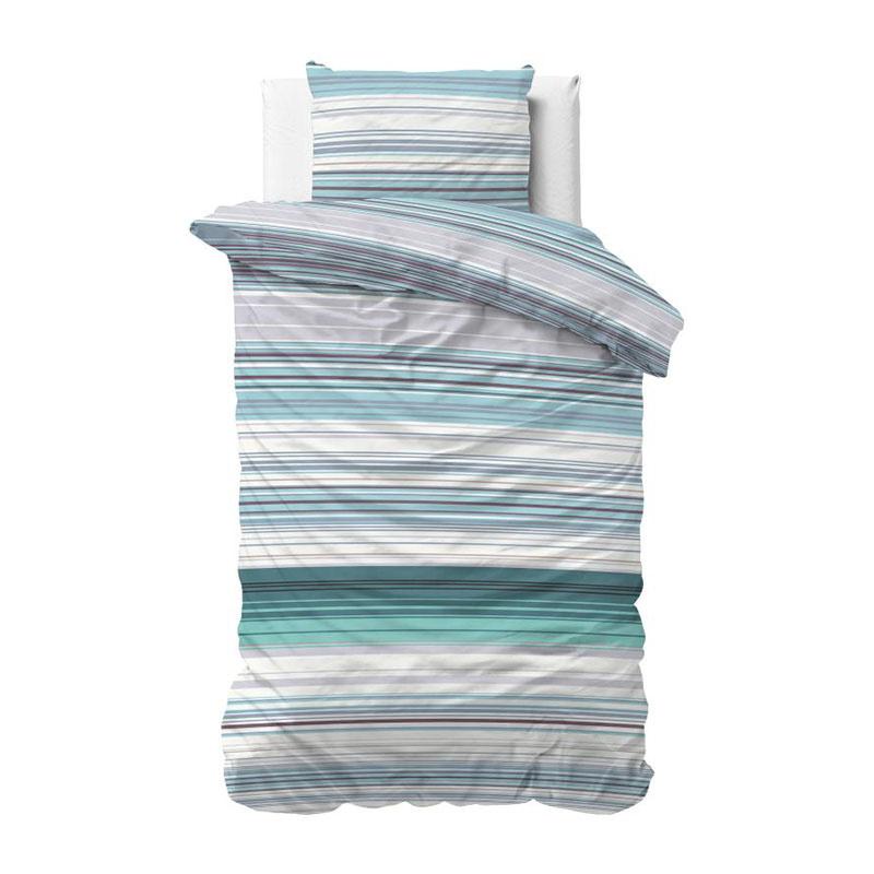 Dekbedovertrek Carl - Turquoise 1-persoons (140x220 cm) - Katoen - Strepen - Blauw - Ga naar Dekbed-