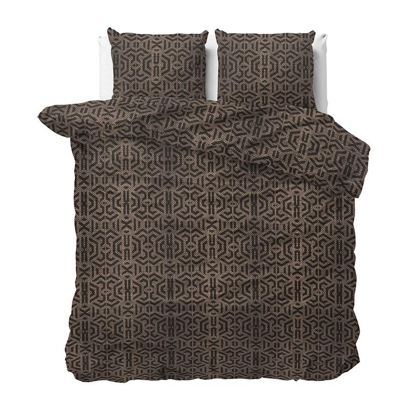 Dekbedovertrek Bendi Lits-jumeaux (240x220 cm) - Katoen - Patroon - Taupe - Ga naar Dekbed-Discounte
