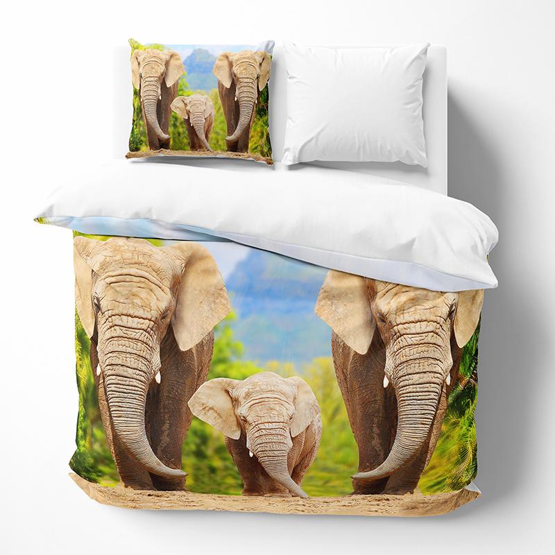 DLC Elephant Family Lits-jumeaux (240 x 200/220 cm + 2 kussenslopen) Dekbedovertrek