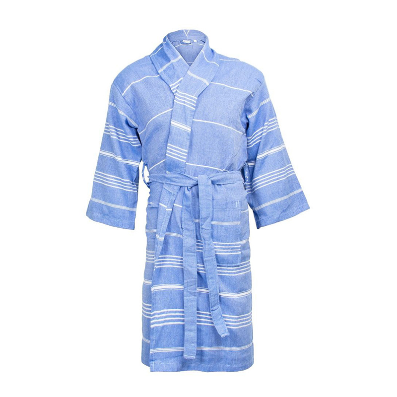 The One Towelling Hamam Badjas - Blauw/Wit S/M