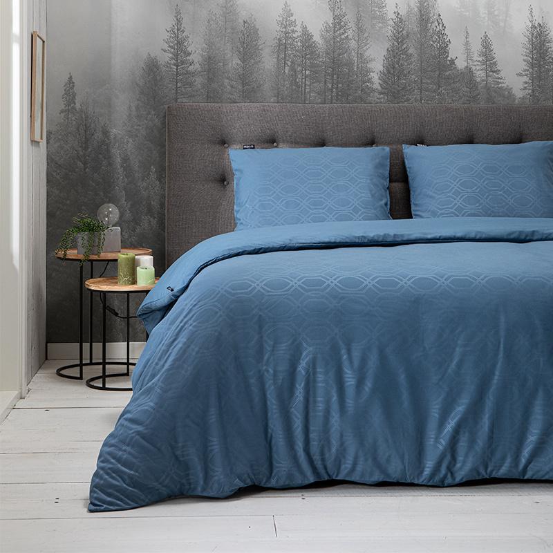 Fresh & Co Dekbedovertrek Embossed Art Deco - Blauw 1-persoons (140 x 220 cm + 1 kussensloop)