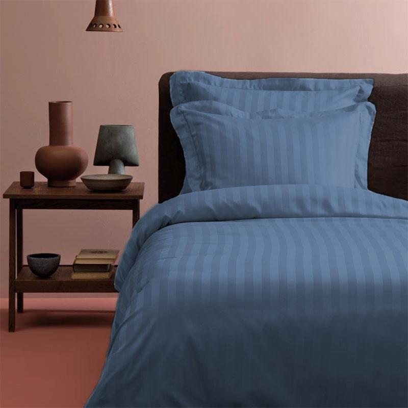 Tiseco Home Studio Satijn streep – Blauw – 1 Persoons 1-persoons (140 x 200 cm) Dekbedovertrek