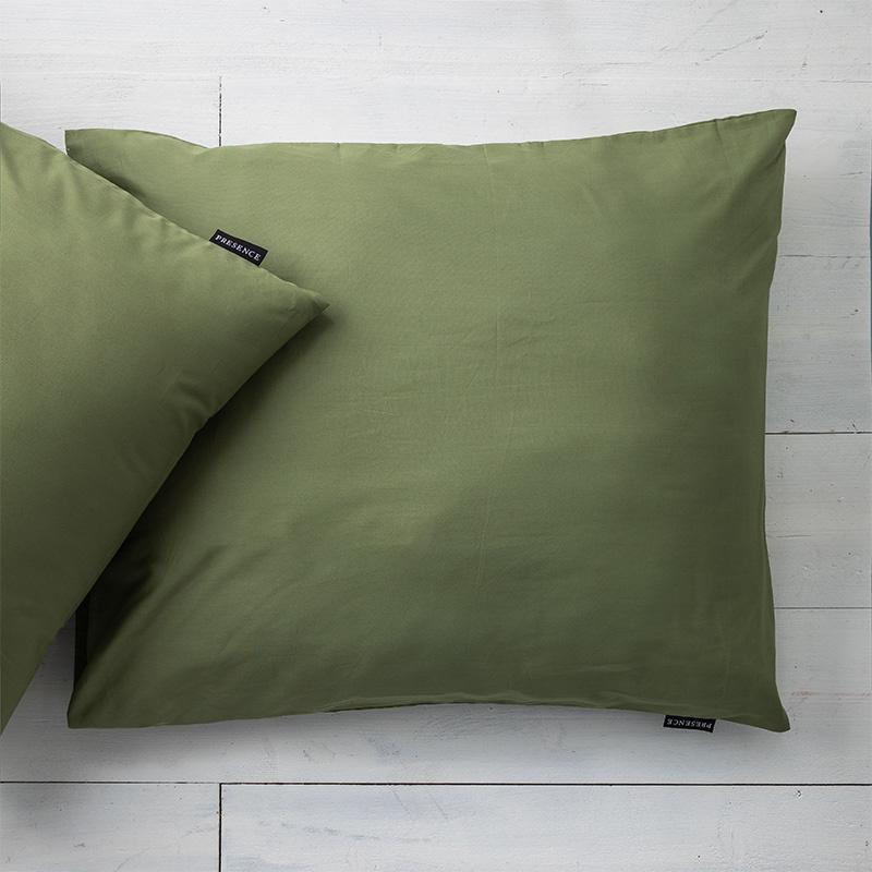 Presence 2-PACK: Kussenslopen Percale Katoen - Olijfgroen 60 x 70 cm