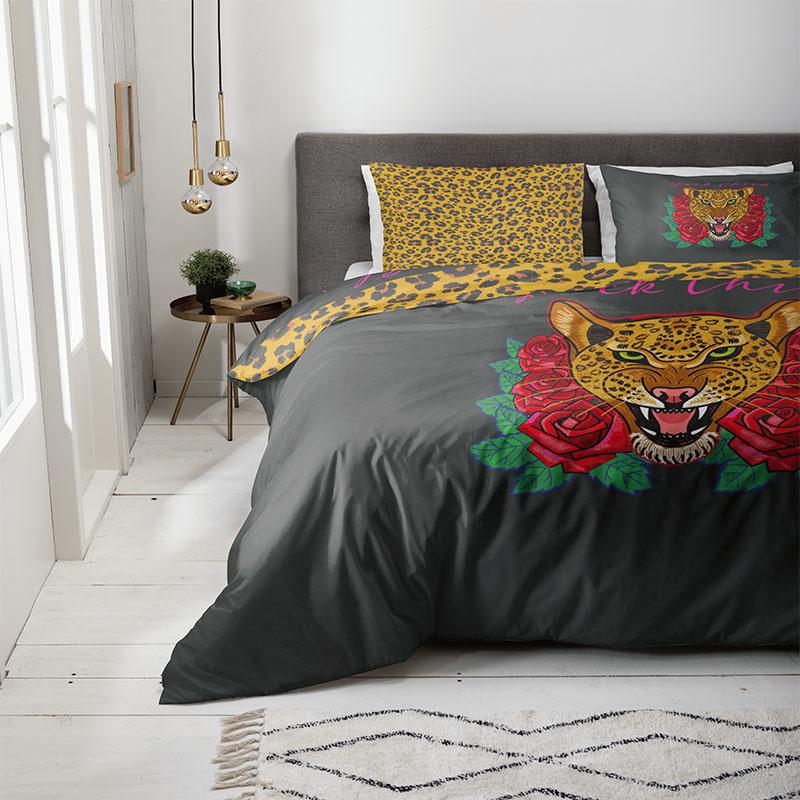 Fresh & Co Dekbedovertrek Floral Tiger 1-persoons (140 x 200/220 cm) Dekbedovertrek