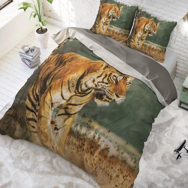 Dekbedovertrek Nature Tiger 1-persoons (140x220 cm) - Katoen - Dieren - Zwart, Goud - Ga naar Dekbed