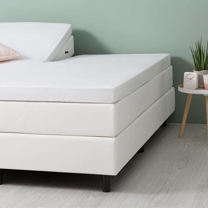 Fresh & Co Comfort Stretch Molton Split- topper Hoeslaken - Wit 200 x 200/210 cm