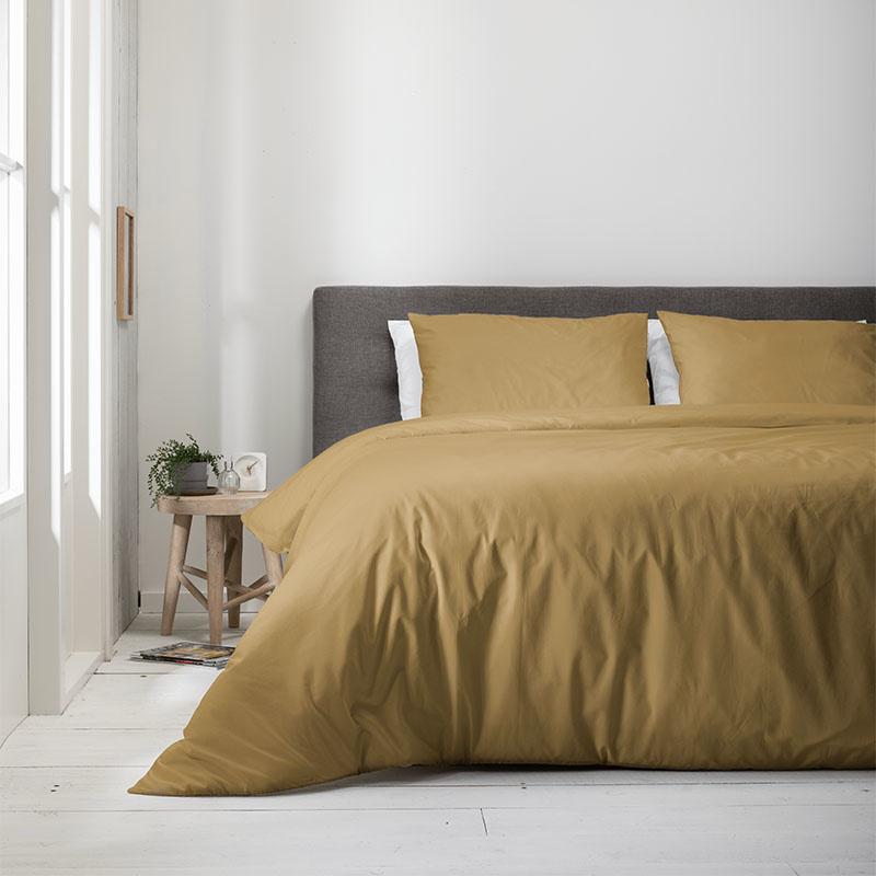 Fresh & Co Uni Pantone – Okergeel Lits-jumeaux (240 x 220 cm + 2 kussenslopen) Dekbedovertrek