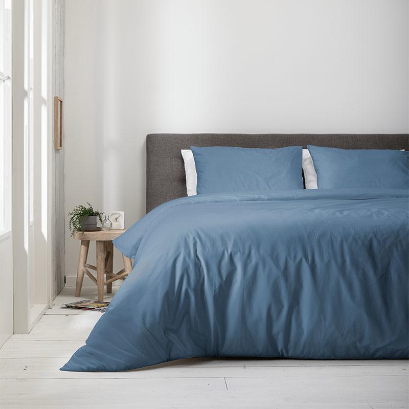 Fresh & Co 2- Pack Uni - Jeans Blauw Lits-jumeaux (240 x 220 cm + 2 kussenslopen) Dekbedovertrek
