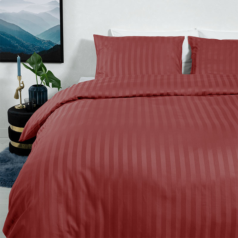 Dekbedovertrek Satin Stripes - 1-persoons (140x200/220 cm) - Katoen-satijn - Strepen - Rood, Bordeau