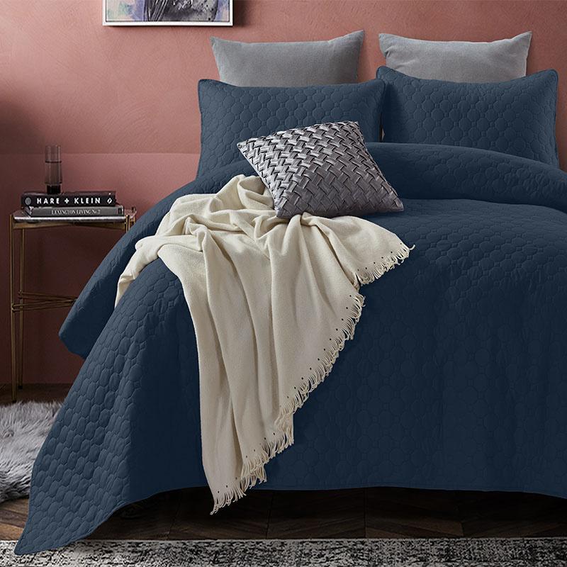 DreamHouse Bedding Bedsprei Fremont - Navy 180 x 250 + 1 kussensloop