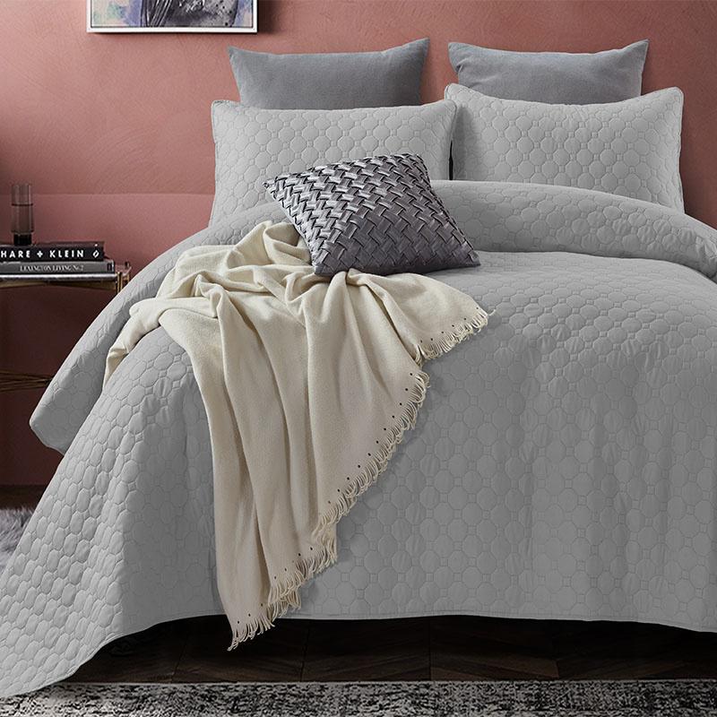 DreamHouse Bedding Bedsprei Fremont - Grijs 260 x 250 + 2 kussenslopen