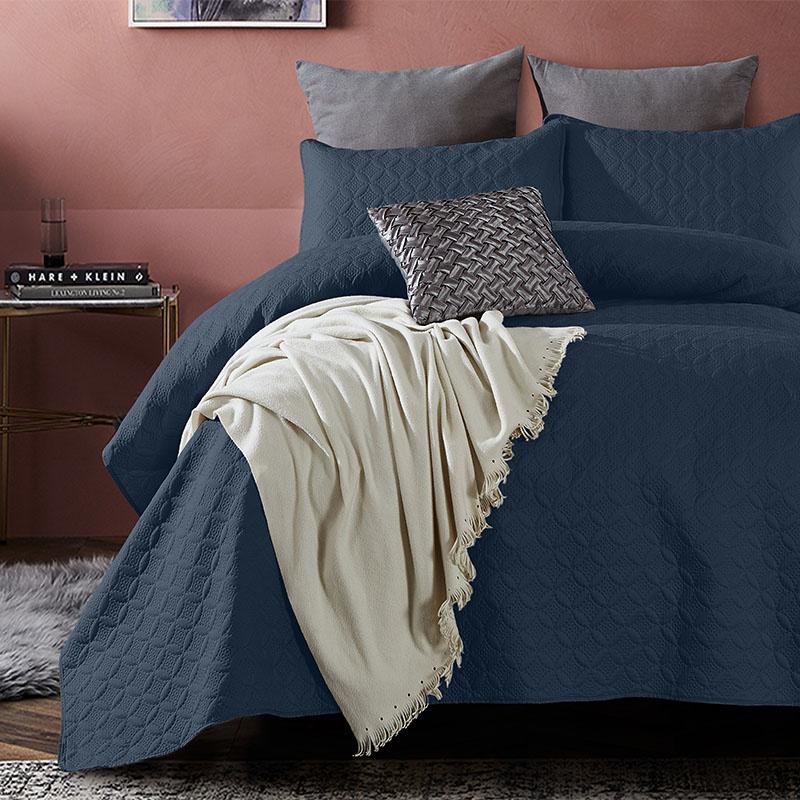 DreamHouse Bedding Bedsprei Florida - Navy 260 x 250 + 2 kussenslopen