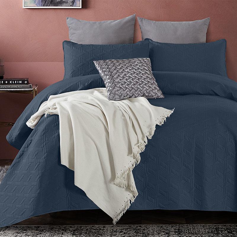 DreamHouse Bedding Bedsprei Baltimore - Navy 260 x 250 + 2 kussenslopen