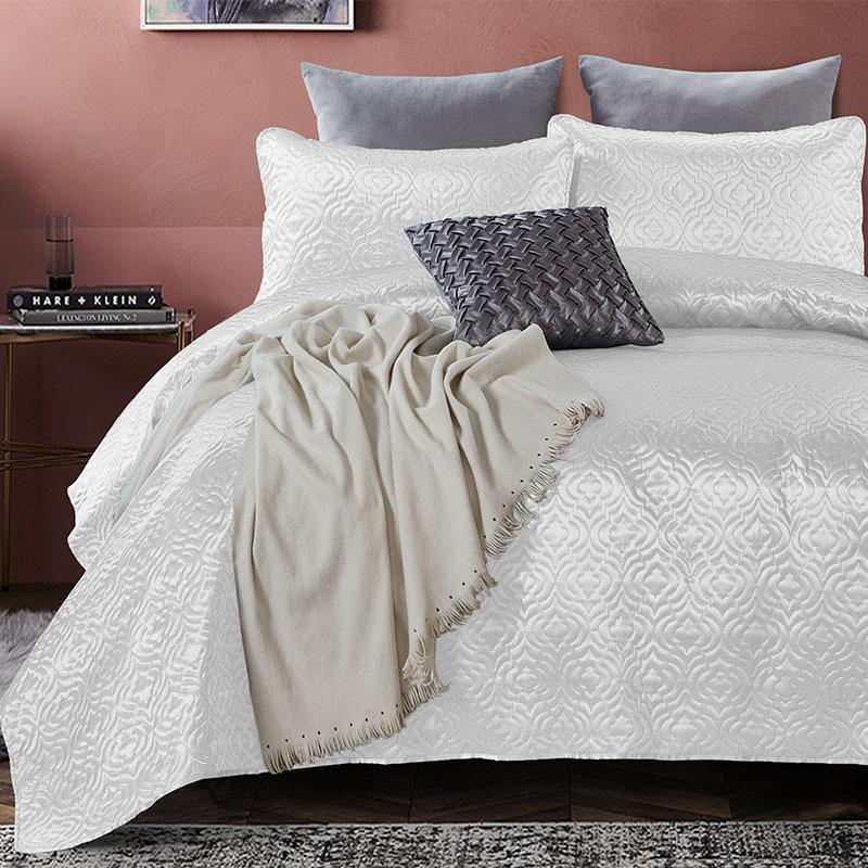 Bedsprei - Satin Orlando - Wit DreamHouse Bedding Patroon 180 x 250 + 1 kussensloop - Ga naar Dekbed