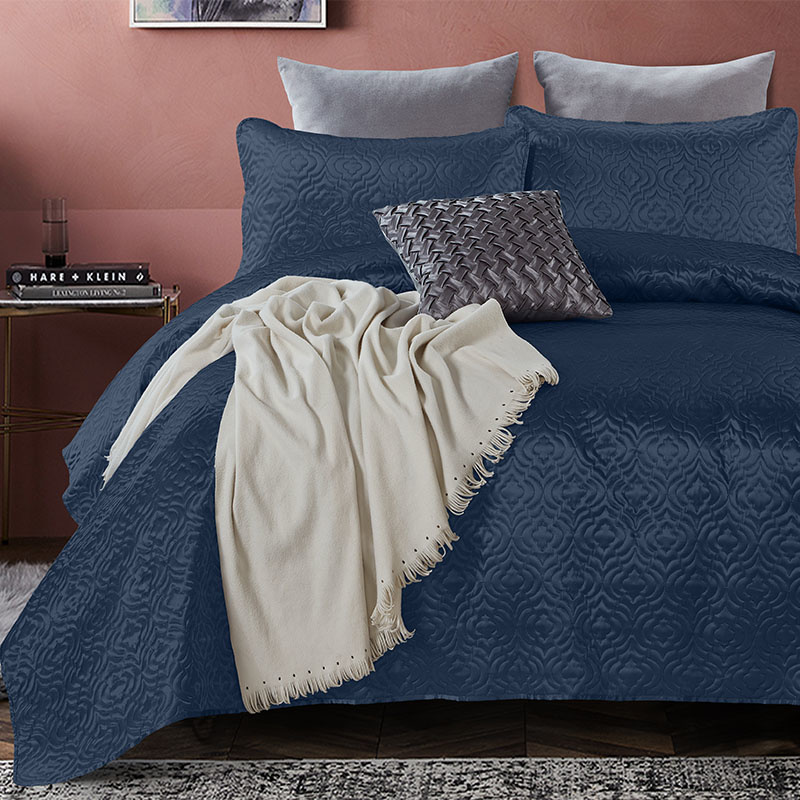 DreamHouse Bedding Bedsprei - Satin Orlando - Navy 260 x 250 + 2 kussenslopen