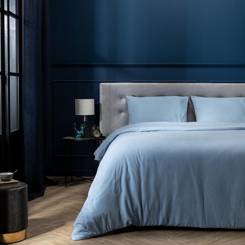 Presence Dekbedovertek Flanel – Simplicity Blauw 2-persoons (200 x 220 cm + 2 kussenslopen) Dekbedovertrek