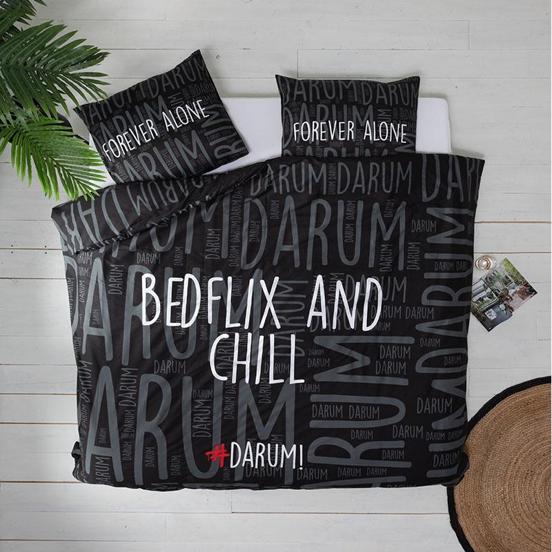 #DARUM! #DARUM! Bedflix - Zwart 1-persoons (140 x 240 cm + 1 kussensloop) Dekbedovertrek