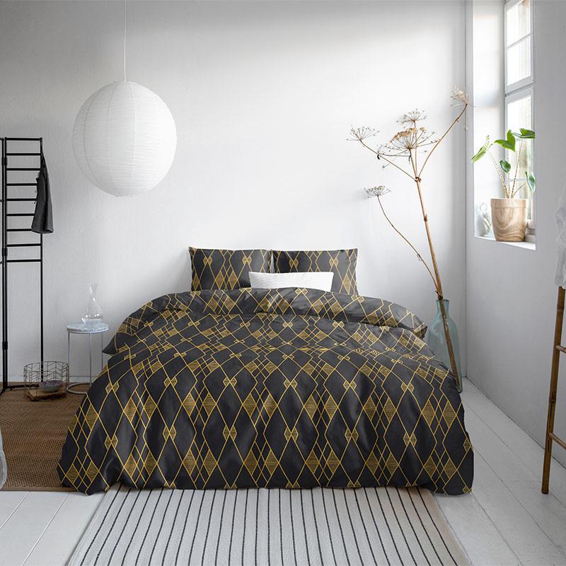 DreamHouse Bedding Javier – Black 1-persoons (140 x 200/220 cm + 1 kussensloop) Dekbedovertrek