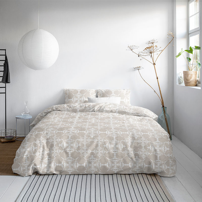 DreamHouse Bedding Yasmine - Zand 1-persoons (140 x 200/220 cm + 1 kussensloop) Dekbedovertrek