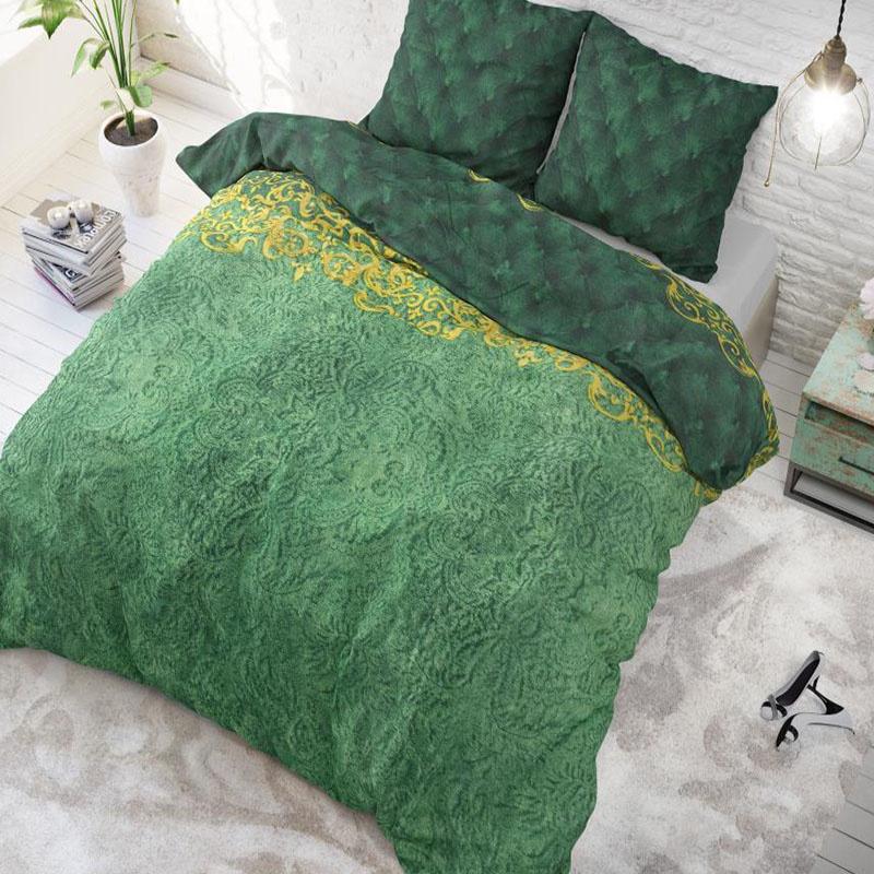 Dekbedovertrek Petty Chrone - Green 1-persoons (140x220 cm) - Katoen - Patroon - - Ga naar Dekbed-Di