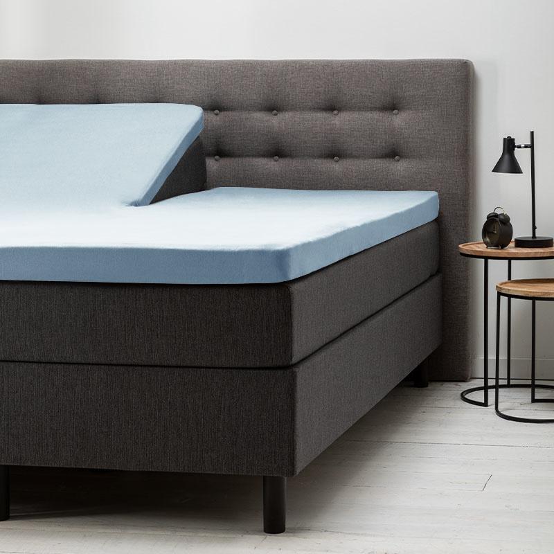 Fresh & Co 2- Pack Comfort Split- Topper Hoeslaken Jersey- Lichtblauw 180 x 200/210 cm