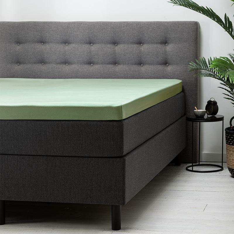 Fresh & Co 2-PACK: Topper Hoeslaken Katoen - Groen 160 x 200 cm