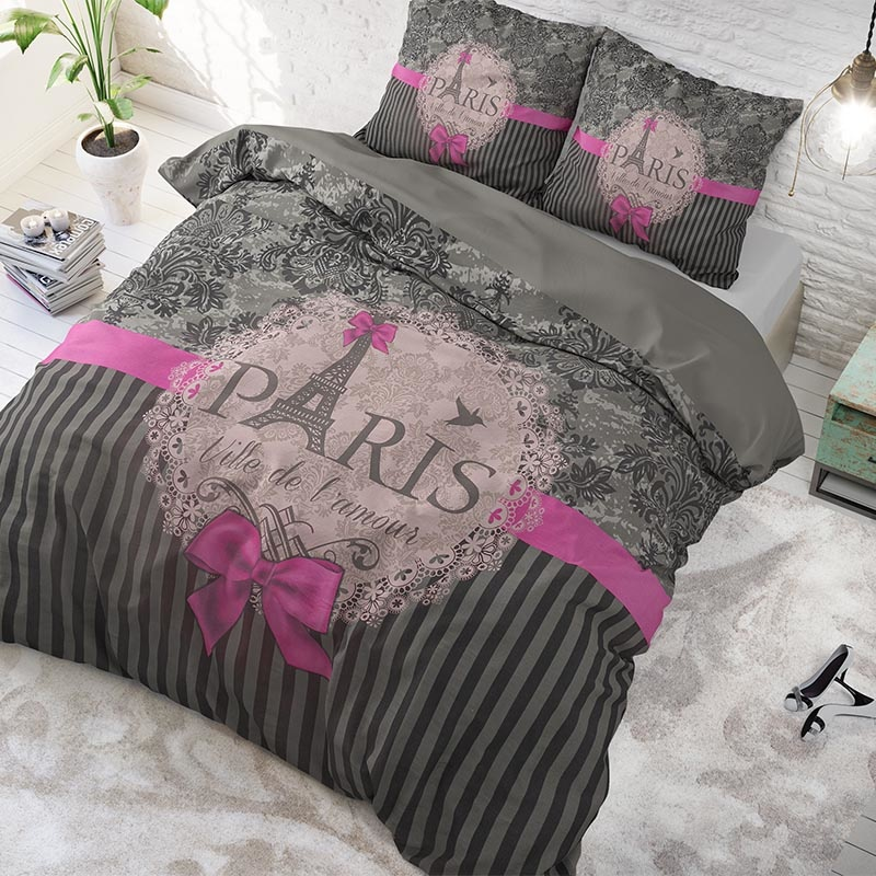 DreamHouse Bedding I Love Paris Pink 1-persoons (140 x 220 cm + 1 kussensloop) Dekbedovertrek