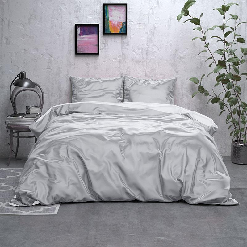 Sleeptime Elegance Double Face Beauty – Grijs/Wit Lits-jumeaux (240 x 220 cm + 2 kussenslopen)