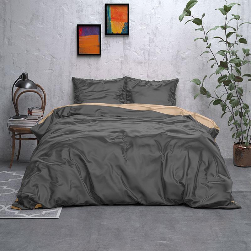 Sleeptime Elegance Double Face Beauty – Antraciet/Taupe Lits-jumeaux (240 x 220 cm + 2 kussenslopen)