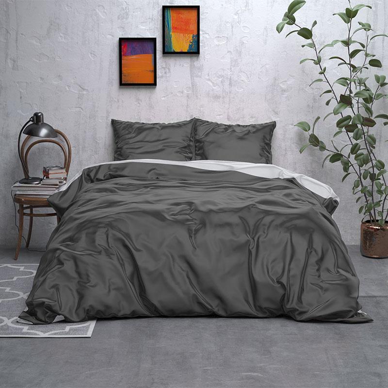 Sleeptime Elegance Double Face Beauty – Antraciet/Grijs 2-persoons (200 x 220 cm + 2 kussenslopen)